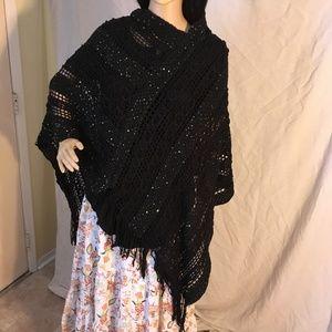 Riah Fashions Sweaters - Riah Fashion Woman crochet black fringe poncho OS